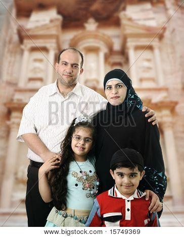 Happy Muslim family in Petra, Jordan