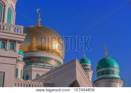Moscow Cathedral Mosque Russia. Beautiful religious architecture. Main mosque in Moscow one of largest mosque in Russia. Popular Islamic place of worship for Muslims followers of religion of Islam