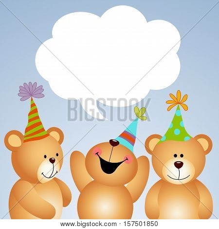 Scalable vectorial image representing a background teddy bears with comic balloon.