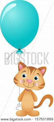 Scalable vectorial image representing a cute cat with balloon, isolated on white.