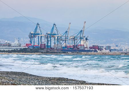 LIMASSOL CYPRUS - JANUARY 17 2015: Industrial view of Sea port of Limassol Cyprus. The port is the largest and busiest harbour on the island