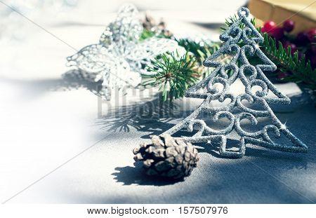 Background of Christmas presents and gloss Christmas tree