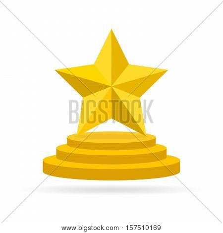 Gold star award on blank trophy. Reward icon isolated on white background. Star reward in flat design. Vector illustration. Concept of success or victory.