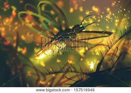 little man directing giant firefly in a night forest, illustration painting