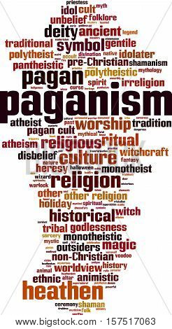 Paganism word cloud concept. Vector illustration on white