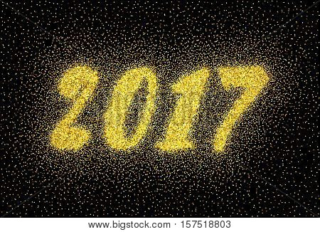 Glitter gold textured inscription 2017 of golden sprinkled confetti. Numeral golden design element for banner, greeting card, Christmas and New Year card, invitation, postcard. Vector illustration.