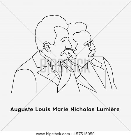 Lumiere brothers. Black and white illustration. Flat vector style