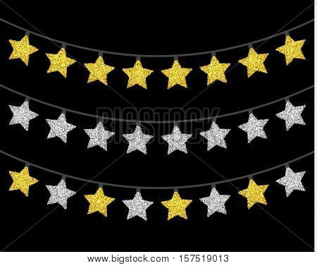 Gold and silver textured Christmas lights set. Isolated realistic luminous garland design elements. Glowing lights for Xmas Holiday greeting card. Garlands, Christmas decorations. Vector illustration.