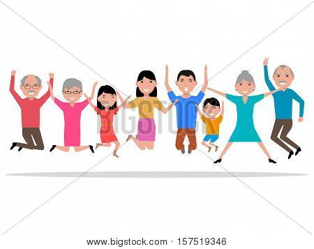 Vector illustration cartoon jumping happy smiling people. Hopping for joy large family. Bouncing with delight people. Flat style. Leaping from happiness grandparents, parents and their children.