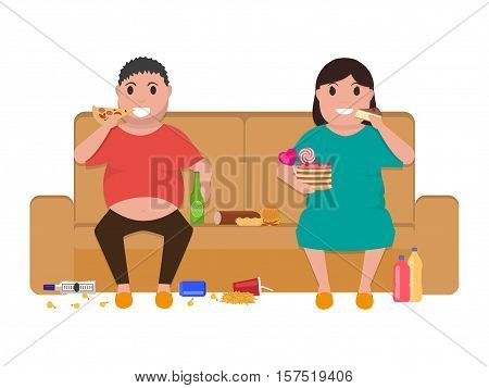 Vector illustration cartoon fat man and woman sitting on the couch eat the food. Picture, drawing isolated on white background. Fatty people on the sofa lead unhealthy lifestyles. Flat style.