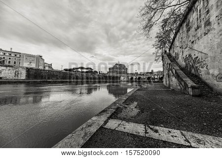 Tiber river in Rome. Black and white photo