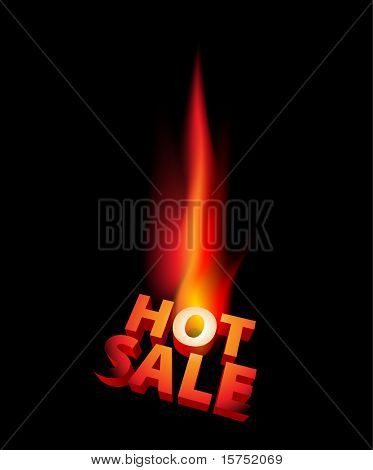 Hot sale anouncement with big flame on black background