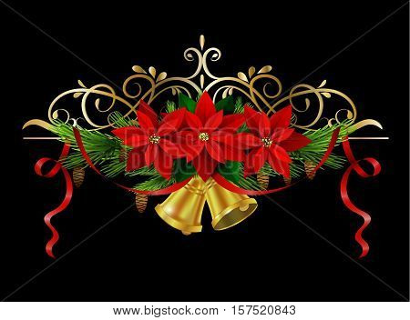 Christmas decoration with evergreen treess holly and pinecone and poinsettia and ribbon isolated bells