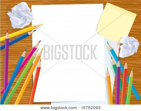 Office creative desktop. Vector template.
