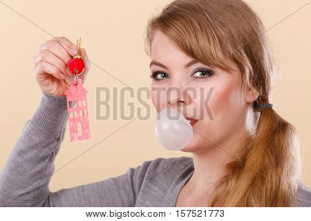 Funny Woman Holds House Keys Eat Chewing Gum
