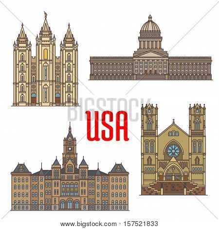 Travel landmarks of USA thin line icon. American Utah travel sights icon with Salt Lake City and County Building, Cathedral of the Madeleine, Utah State Capitol and Salt Lake Temple