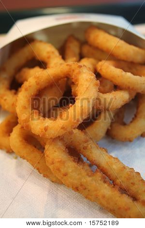 Close up shot of onion rings, the popular fast food snack.