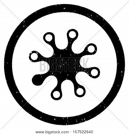 Axenic grainy textured icon inside circle for overlay watermark stamps. Flat symbol with unclean texture. Circled dotted vector black ink rubber seal stamp with grunge design on a white background.