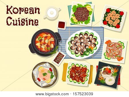 Korean cuisine traditional grilled beef bulgogi icon with pork ribs in soy sauce, beef stew in daikon pot, blood sausage, starch noodle with beef, spinach shrimp, baked trout, pork tofu soup