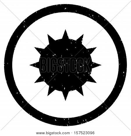 Bacterium grainy textured icon inside circle for overlay watermark stamps. Flat symbol with scratched texture.