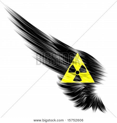 Black Abstract Wing With Radioactive Sign On White Background