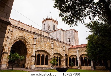 SANTANDER SPAIN - AUGUST 19: Ghotic cloister of the Cathedral Basilica of the Assumption of the Virgin Mary of Santander on August 19 2016