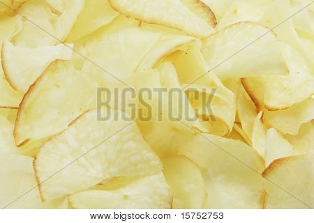 Potato Chips out of the bag in plain classic unsalted flavor