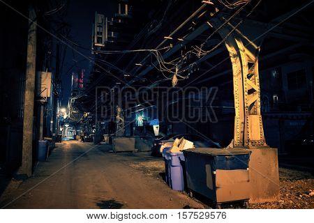 Dark Urban Alley at Night