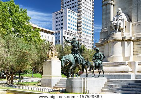 View Of The Stone Sculpture Of Miguel De Cervantes And Bronze Sculptures Of Don Quixote And Sancho P