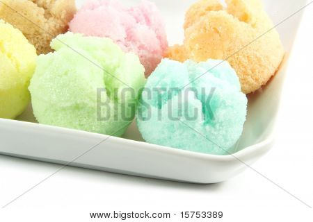 Assorted Ice Cream Flavors Isolated on a White Background