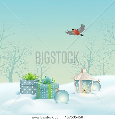 Vector Christmas winter landscape with gifts, snow covered hills, winter forest, bird bullfinch