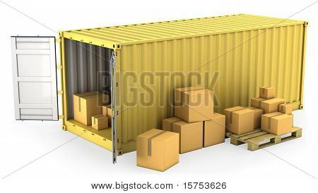 Yellow Opened Container With A Lot Of Carton Boxes