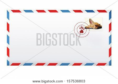 Post envelope with  postage stamp isolated on white background. 3d illustration.