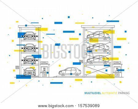 Multilevel parking terminal slot transportation linear vector illustration. Multilevel parking building creative graphic concept. Multilevel parking graphic design.
