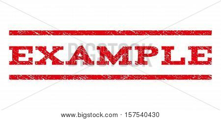 Example watermark stamp. Text caption between parallel lines with grunge design style. Rubber seal stamp with dust texture. Vector red color ink imprint on a white background.