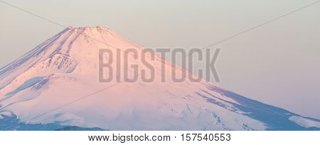 Mountain Fuji in winter sunrise at Hakone Lake panoramic