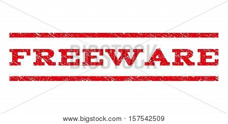 Freeware watermark stamp. Text caption between parallel lines with grunge design style. Rubber seal stamp with unclean texture. Vector red color ink imprint on a white background.