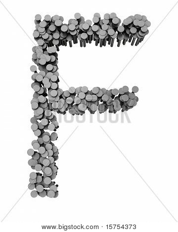 Alphabet Made From Hammered Nails, Letter F