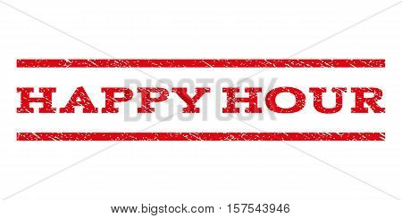 Happy Hour watermark stamp. Text tag between parallel lines with grunge design style. Rubber seal stamp with dirty texture. Vector red color ink imprint on a white background.