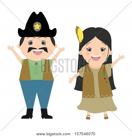 Children in carnival costumes and cowboy Pocahontas. Wild West cowboys and Indians. Vector cartoon