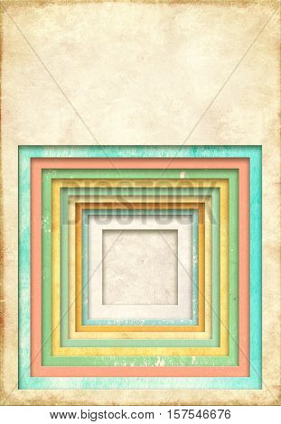 Grunge background with texture of old colored paper of pink, green, yellow, blue colors and geometric square frame