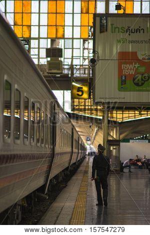 Bangkok, Thailand - November 19, 2016 : around Bangkok Railway Station or Hua Lamphong Station is the main railway station in Bangkok, Thailand.