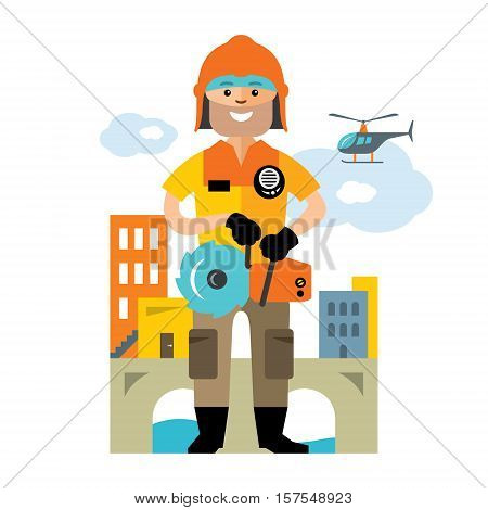 Rescuer with a tool on the background of the city. Isolated on a white