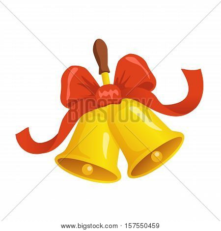 Jingle Bells Vector Illustration On White Isolated Background. Two Christmas Bells With Red Ribbon A