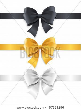 Luxury Bows and Ribbons Set Black, White and Gold Knots. Vector illustration