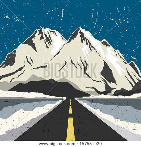 Mountains road landscape. Adventure outdoor expedition mountain mountain snowy peak mountain background vector illustration