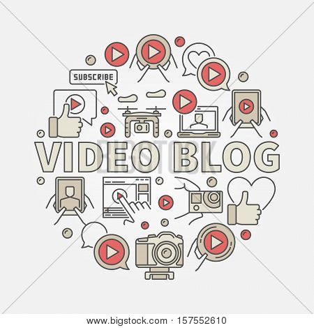 Video blog round illustration. Vector colorful computer video blogging concept sign