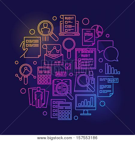 Audit circular colorful illustration. Round vector business analytics and financial audit outline minimal sign on dark background
