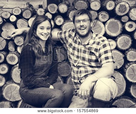 Family Father Daughter Smiling Togetherness Sawmill Concept