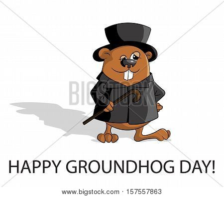 Groundhog day. Marmot in hat with stick and classic clothes. Have long shadow. . Flat design. Vector illustration.